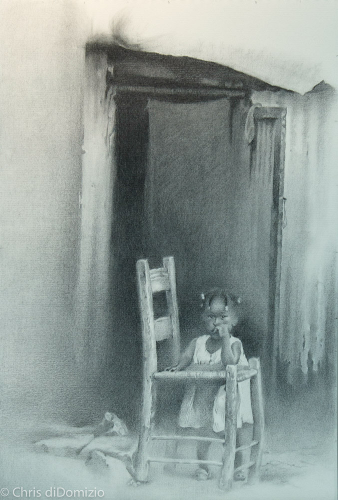 Dylan Scott Pierce original graphite drawing haiti