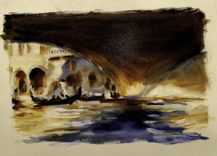After Sargent Rialto Bridge, Transparent Oil On Linen Chris diDomizio