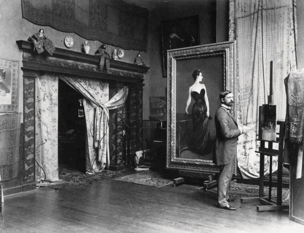 """John S. Sargent in his studio in front of """" Madam X Madam Pierre Gautreau"""" 1883-1884"""