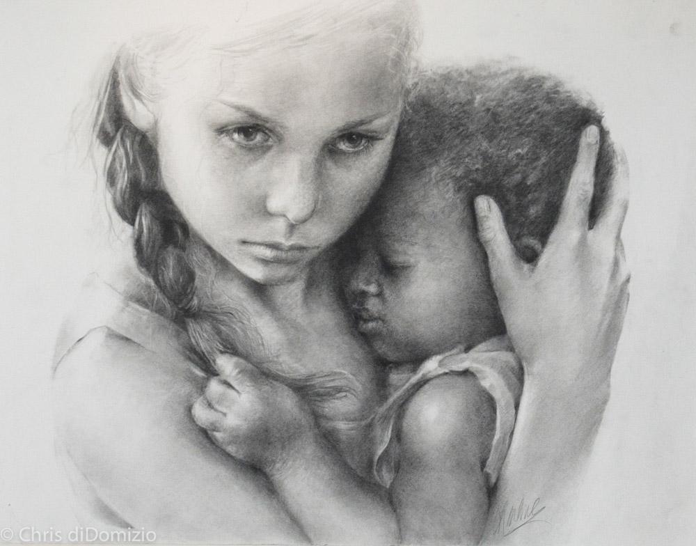 Charlene Shakany original graphite drawing Haiti fund raoiser