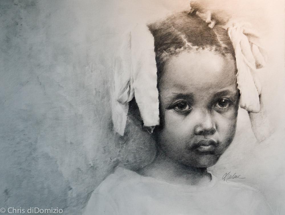 Charlene Shakany original graphite drawing haiti fund raiser