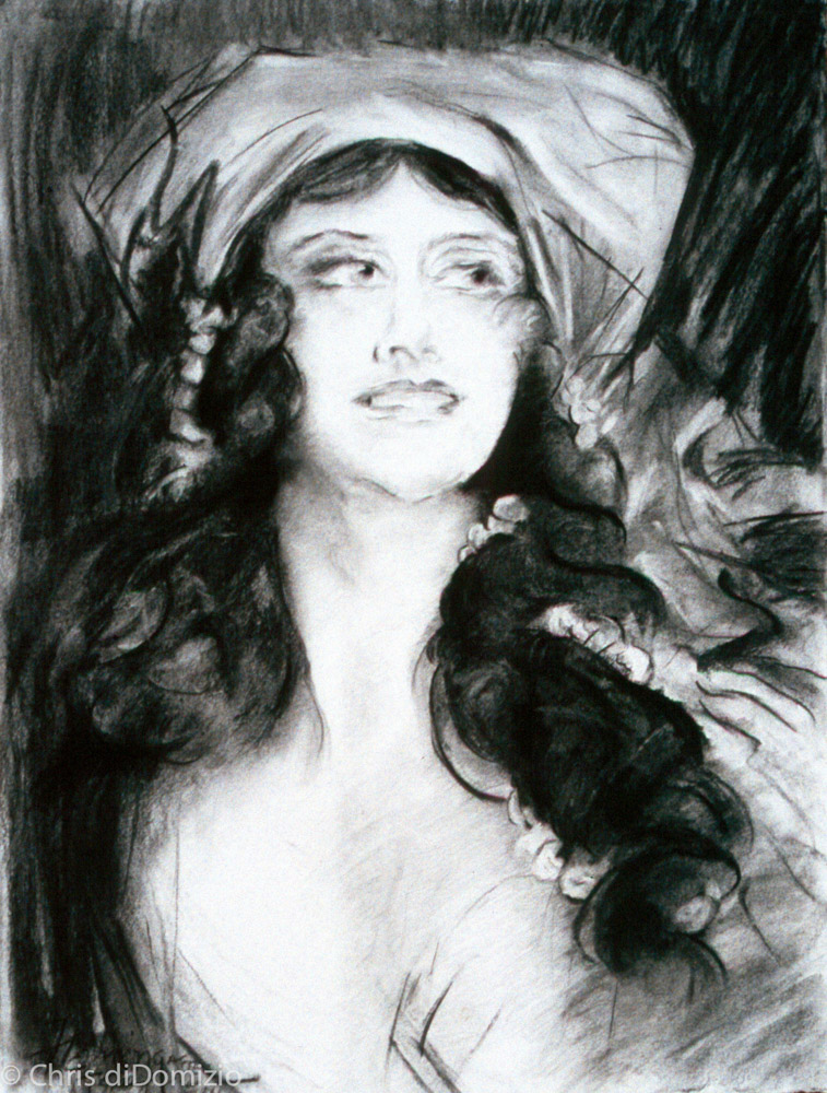 Laural Flemming graphite, charcoal, pastel drawing after Sargent